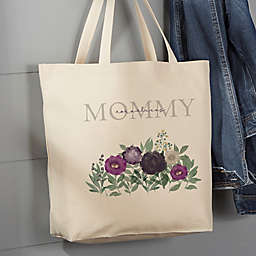 Floral Love For Mom Personalized Canvas Tote Bag