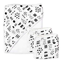 The Honest Company® 3-Piece Pattern Play Hooded Towel and Washcloth Set in White/Black