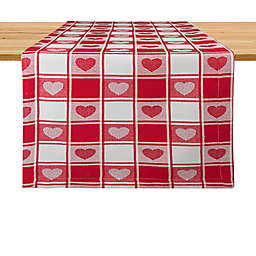 Hearts Woven Check 108-Inch Table Runner in Red/White