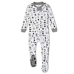 The Honest Company® Size 18M Pattern Play Organic Cotton Snug-Fit Footed Pajama in Black/White
