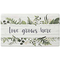 """Bee & Willow™ Home Love Grows Here 20"""" x 36"""" Comfort Kitchen Mat in Natural"""