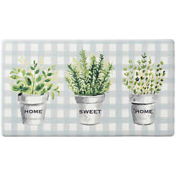 """Bee & Willow™ Home Potted Herbs 20"""" x 36"""" Comfort Kitchen Mat in Blue"""