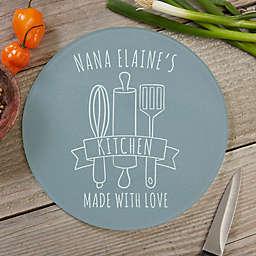 Grandma's Kitchen 8-Inch Round Glass Cutting Board