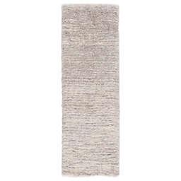 Jaipur Living Staves 2'6 x 8' Shag Runner in Light Grey/Cream