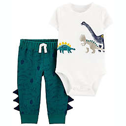 carter's® 2-Piece Dinosaur Bodysuit and Pant Set in White/Teal