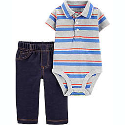 carter's® 2-Piece Striped Polo Bodysuit and Pant Set in Grey