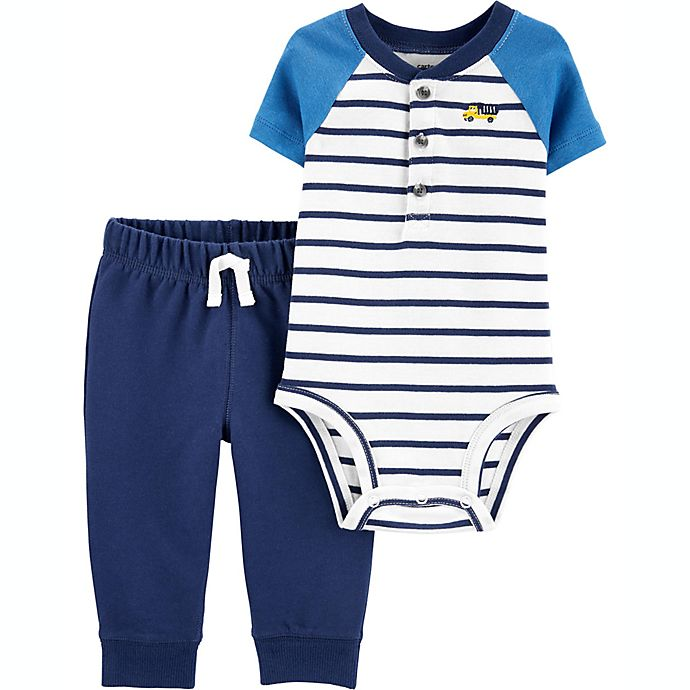 Alternate image 1 for carter's® Size 3M 2-Piece Striped Henley Bodysuit and Pant Set in Blue
