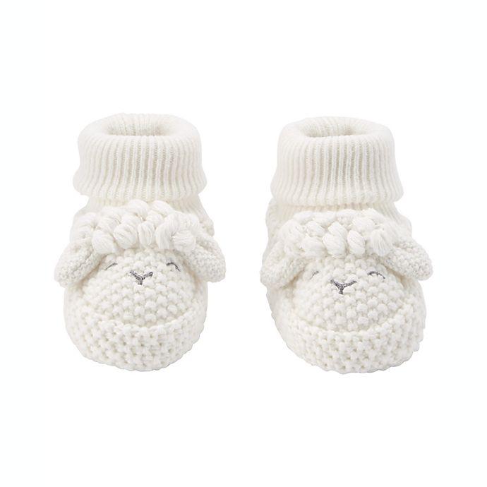 Alternate image 1 for carter's® Lamb Crochet Booties in White
