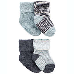 carter's® 4-Pack Foldover Chenille Booties in Blue