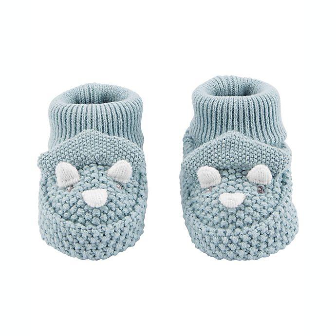 Alternate image 1 for carter's® Dinosaur Crochet Booties in Blue