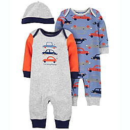 carter's® 3-Piece Car Jumpsuit and Cap Set
