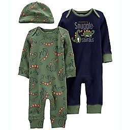 carter's® 3-Piece Snuggle Dino Multicolor Jumpsuits & Cap Set