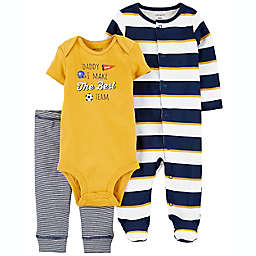 carter's® 3-Piece Soccer Multicolor Sleep & Play, Bodysuit and Pant Set