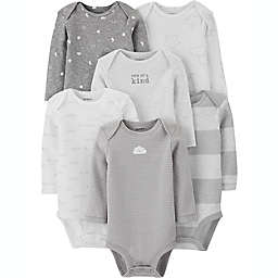 carter's® 6-Pack Long Sleeve Bodysuits in Grey
