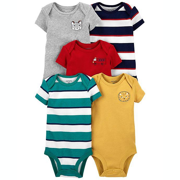 Alternate image 1 for carter's® 5-Pack Animal/Rugby Stripe Short-Sleeve Bodysuits