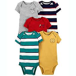 carter's® 5-Pack Animal/Rugby Stripe Short-Sleeve Bodysuits