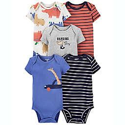 carter's® 5-Pack Giraffe/Hippo Short Sleeve Bodysuits