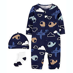 carter's® 3-Piece Dino Print Take-Me-Home Converter Gown, Cap and Sock Set in Navy
