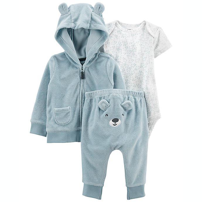Alternate image 1 for carter's® 3-Piece Bear Little Jacket, Bodysuit, and Pant Set in Blue