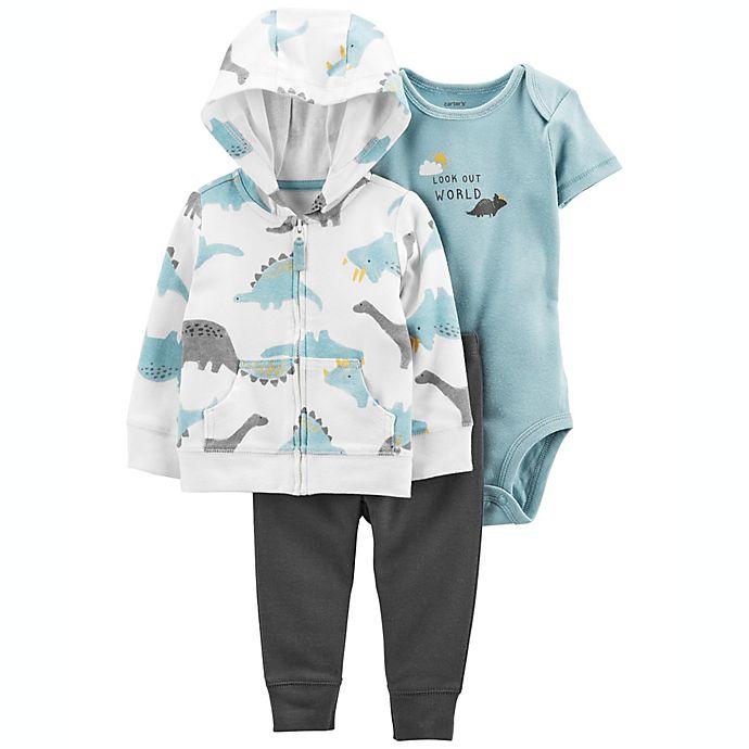 Alternate image 1 for carter's® 3-Piece Dinosaur Little Jacket Set in Blue
