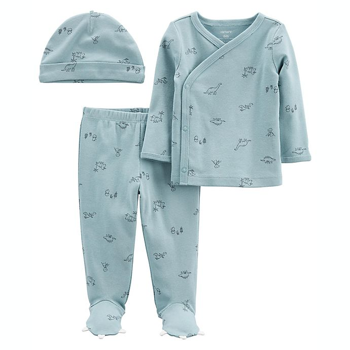 Alternate image 1 for carter's® 3-Piece Dino Take-Me-Home Tee, Pant and Cap Set in Blue