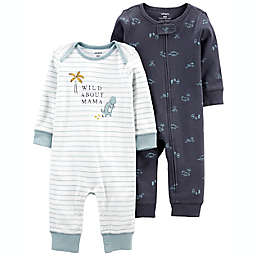 carter's® 2-Pack Dino Jumpsuits in Navy