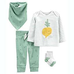 carter's® Size 12M 4-Piece Veggie Shirt, Pant, Bandana Bib, and Sock Set