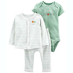 carter's® Size 12M 3-Piece Home Grown Cardigan, Bodysuit, and Pant Set in Ivory/Green