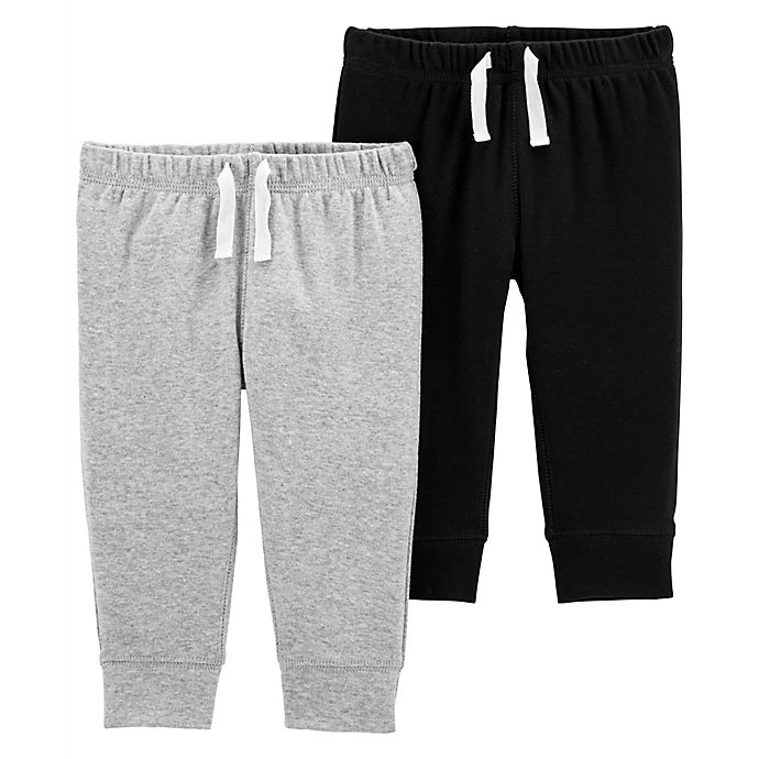 Alternate image 1 for carter's® Size 12M 2-Pack Cotton Pants in Grey/Black