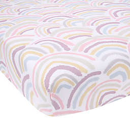 Lambs & Ivy® Organic Cotton Baby Signature Rainbow Fitted Crib Sheet in White