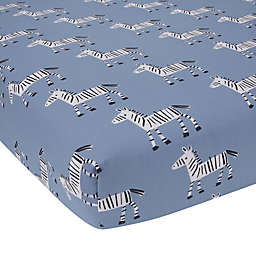 Lambs & Ivy® Organic Cotton Baby Signature Zebra Fitted Crib Sheet in Blue
