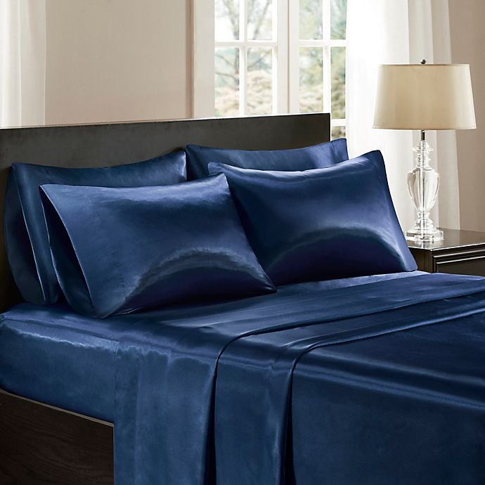 Alternate image 1 for Madison Park® Essentials Satin Solid Queen Sheet Set in Navy