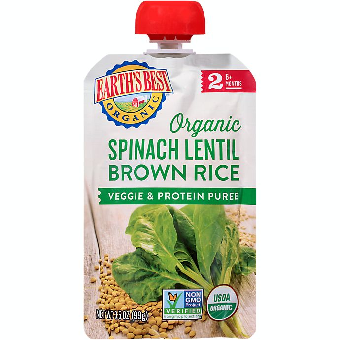 Alternate image 1 for Earth's Best® Organic 3.5 oz. Spinach Lentil Brown Rice Veggie & Protein Puree