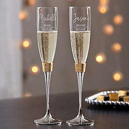Modern Gold Hammered Engraved Wedding Champagne Flute Set
