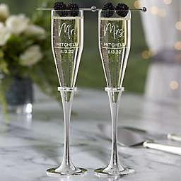 Lenox® Devotion Engraved Wedding Champagne Flute Set