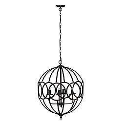 A&B Home Malin 4-Light Orb Chandelier in Antique Black