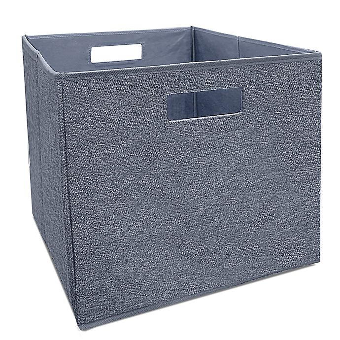 Alternate image 1 for Squared Away™  13-Inch Collapsible Storage Bin in Blue Boucle