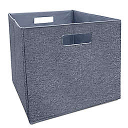 Squared Away™  13-Inch Collapsible Storage Bin in Blue Boucle