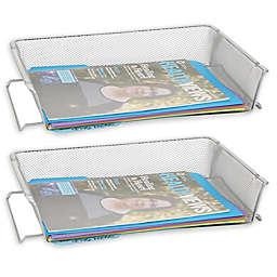 Mind Reader 2-Pack Stackable Metal Mesh File Tray