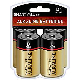Smart Values™ 4-Pack D Alkaline Batteries