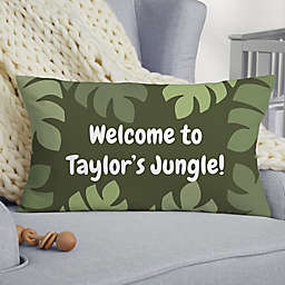 Jolly Jungle Monkey Personalized Lumbar Baby Velvet Throw Pillow