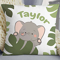 "Jolly Jungle Elephant Personalized 18"" Baby Velvet Throw Pillow"