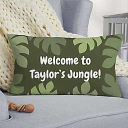 Jolly Jungle Elephant Personalized Lumbar Baby Velvet Throw Pillow
