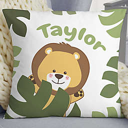 """Jolly Jungle Lion Personalized 18"""" Baby Velvet Throw Pillow"""