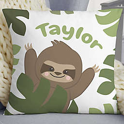 """Jolly Jungle Sloth Personalized 18"""" Baby Velvet Throw Pillow"""