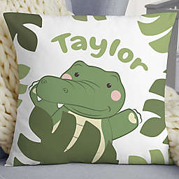 "Jolly Jungle Alligator Personalized 18"" Baby Velvet Throw Pillow"