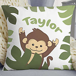 """Jolly Jungle Monkey Personalized 18"""" Baby Throw Pillow"""
