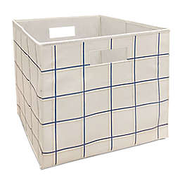 Squared Away™ 13-Inch Collapsible Storage Bin in Khaki/Blue Grid