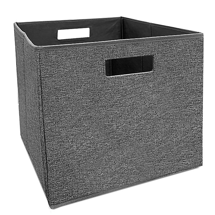 Alternate image 1 for Squared Away™ 13-Inch Collapsible Storage Bin in Charcoal Tweed