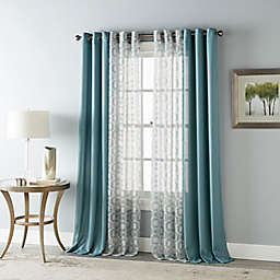 Stratford Park Nina 84-Inch Grommet Light Filtering Window Curtain Panels in Blue (Set of 4)